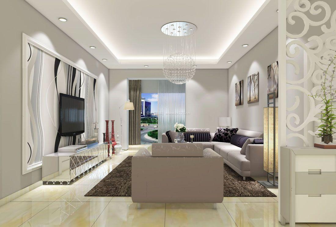 现代简约风格自建房屋设计客厅吊顶效果图
