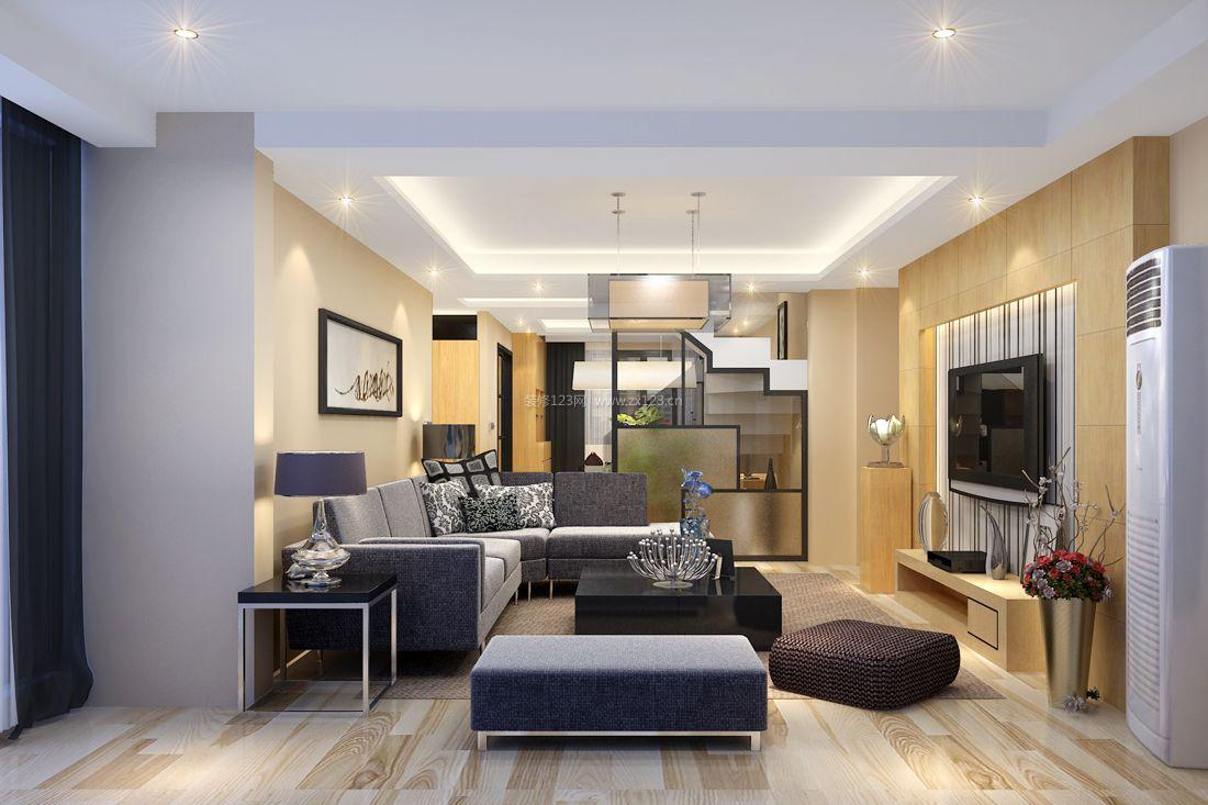 现代简约风格小户型跃层客厅吊顶装修效果图片