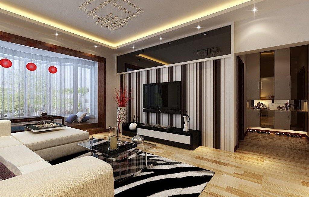 黑白风格带阳台的客厅装修效果图