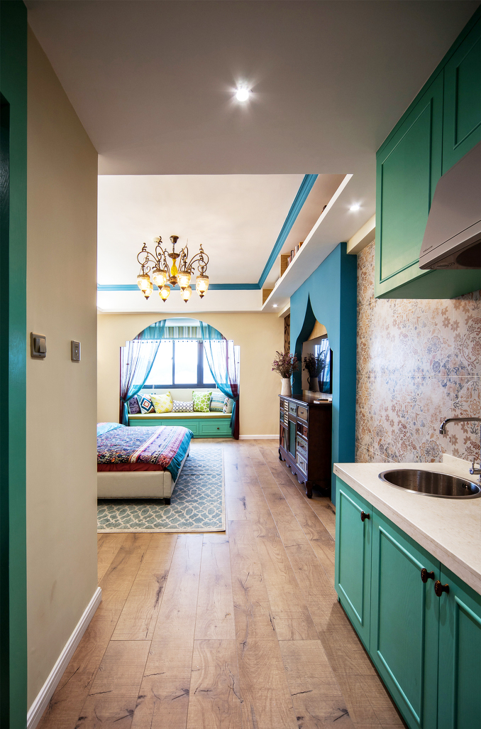 一室一厅小户型室内原木地板装修效果图片