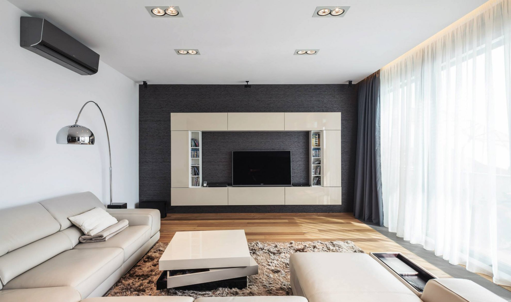 现代简约黑白风格电视墙装修效果图