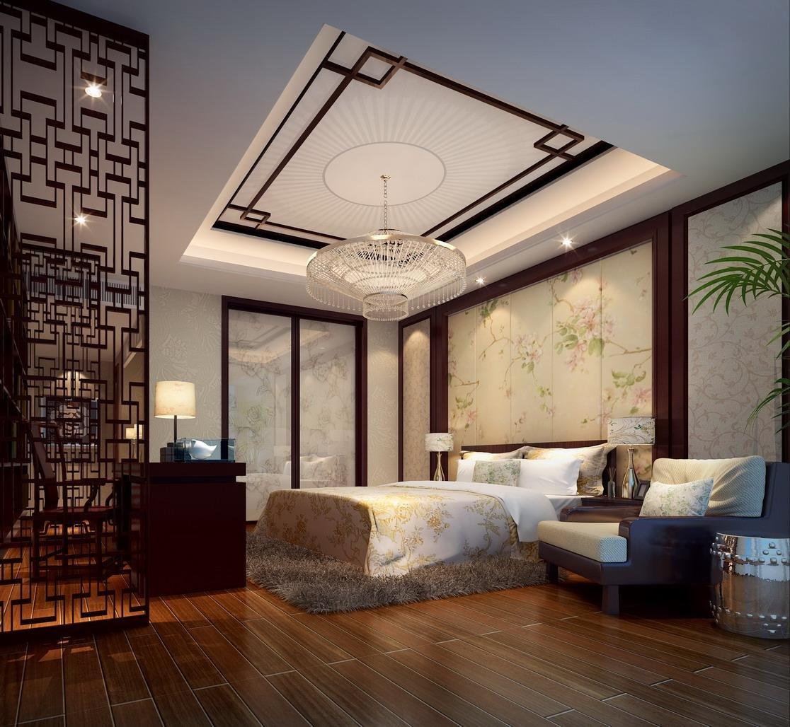 现代别墅中式卧室设计效果图_装修123效果图