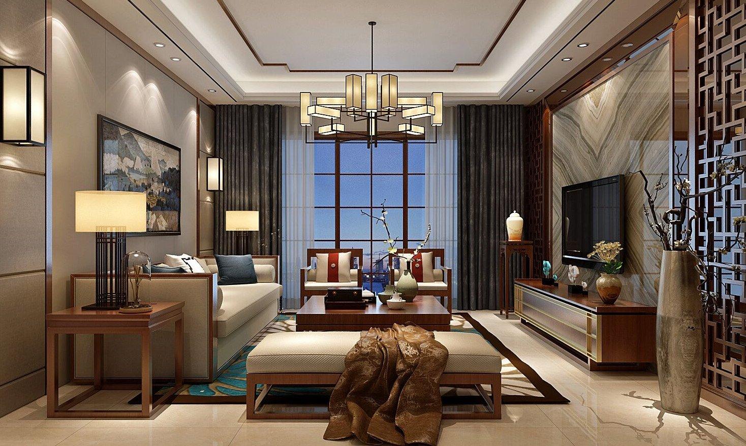 现代中式别墅客厅吊灯效果图