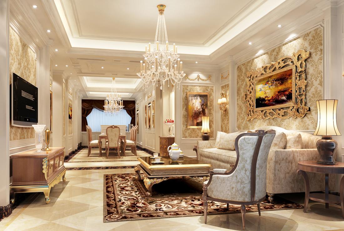 2017欧式古典风格别墅客厅水晶灯装修效果图片