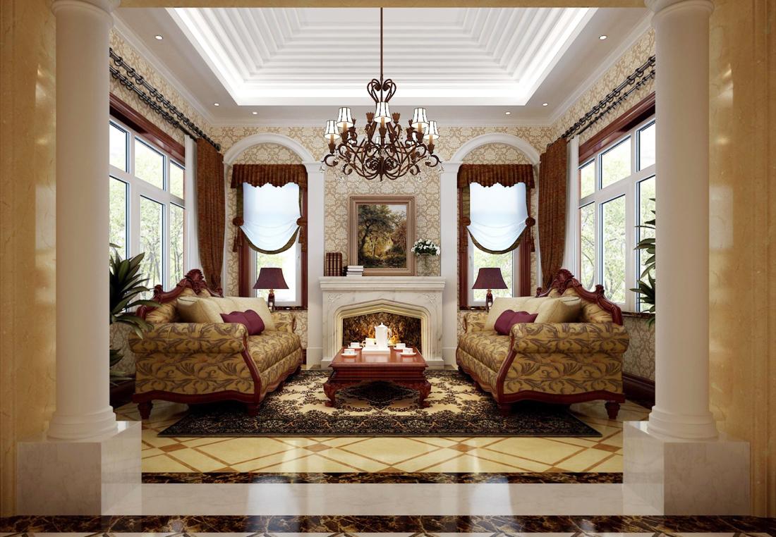 2017欧式古典风格别墅客厅壁纸装修效果图