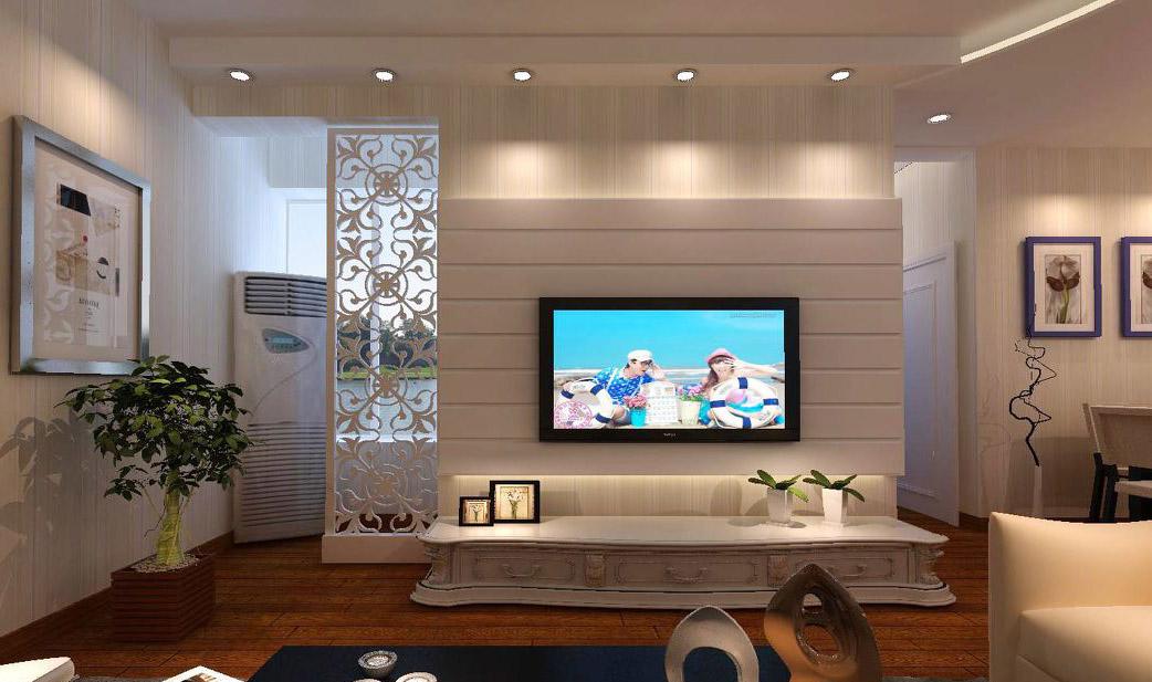 现代简约小客厅电视墙隔断装修效果图片