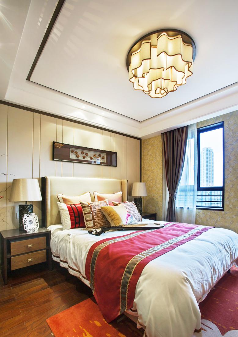 2017中式风格家装卧室吸顶灯装修效果图片