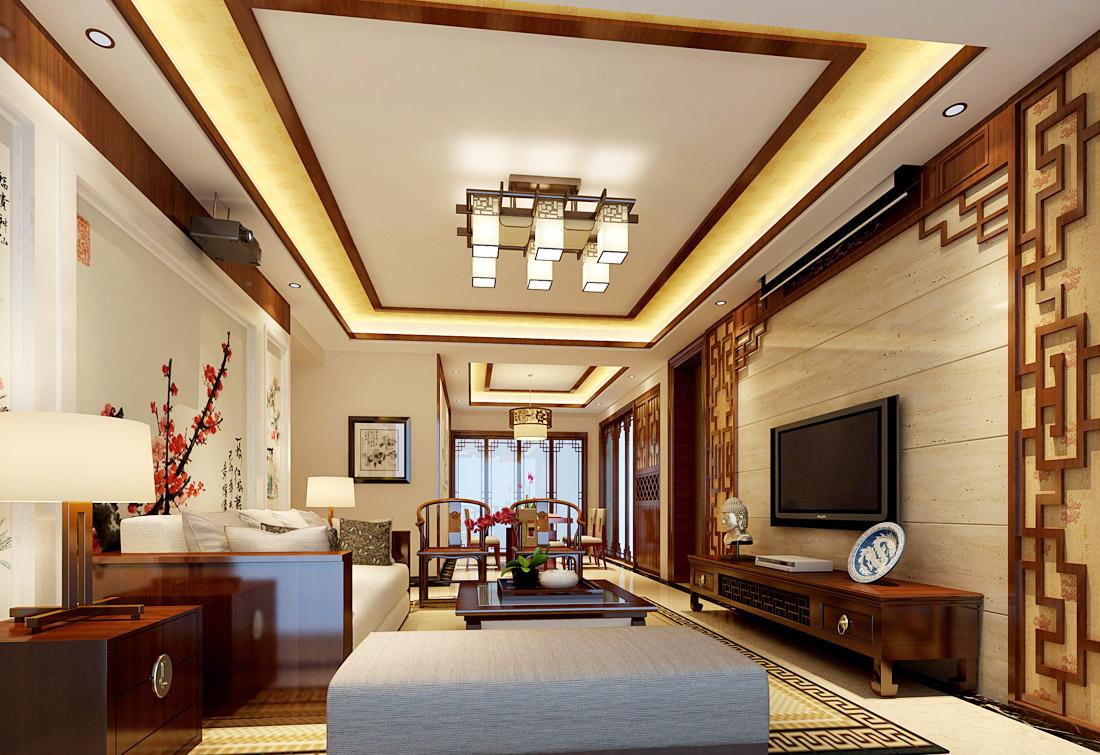 中式风格家装客厅灯装修效果图片2017