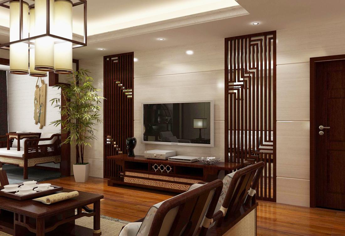 中式风格家装小户型客厅装修设计图片2017