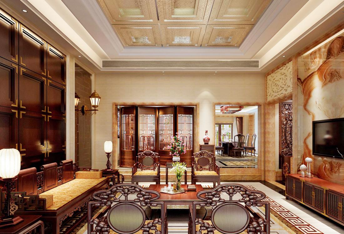 中式风格豪华家装别墅客厅装修效果图片图片