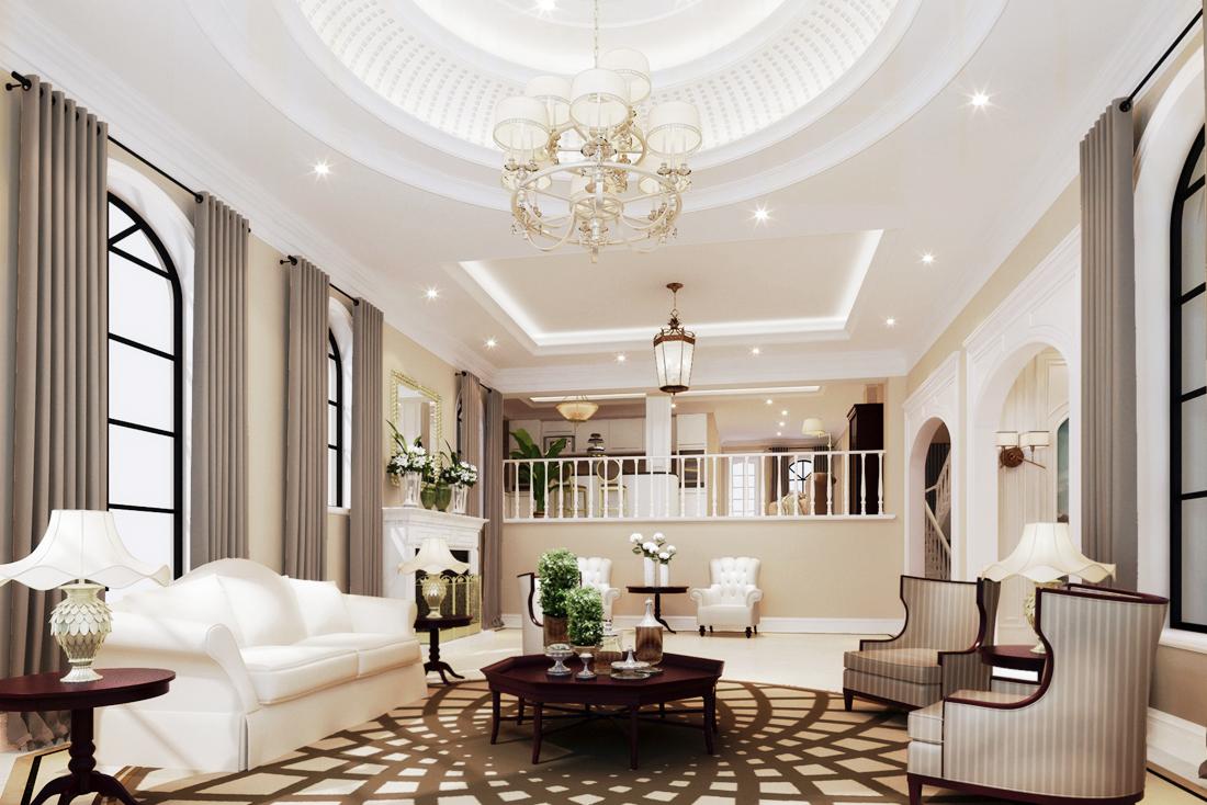 欧式豪华别墅没有阳台的客厅装修效果图片大全