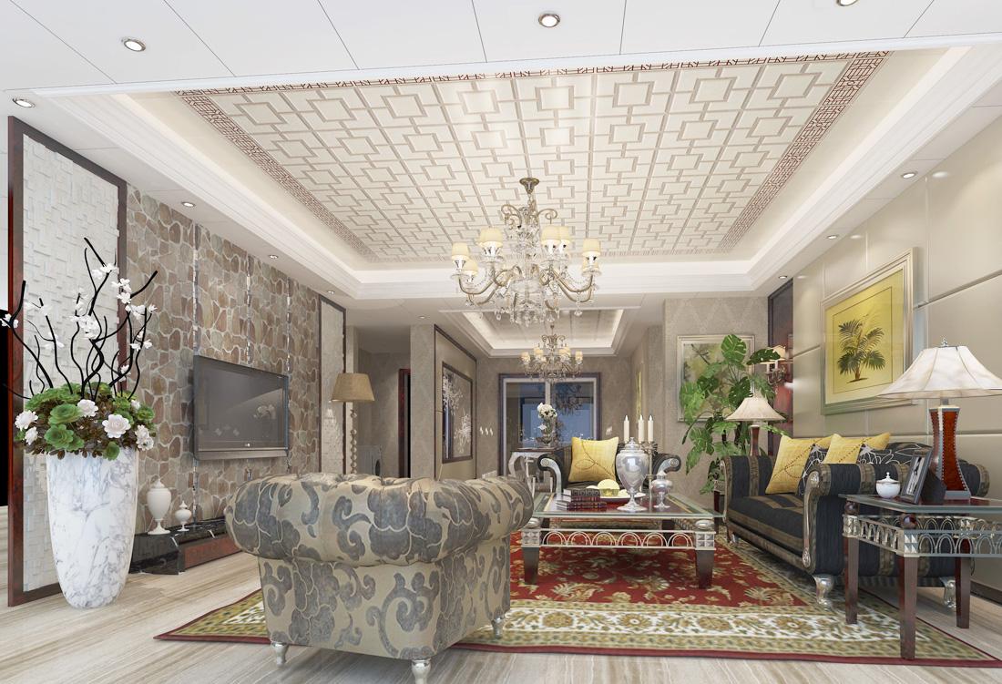 最新欧式没有阳台的客厅吊顶装饰装修效果图