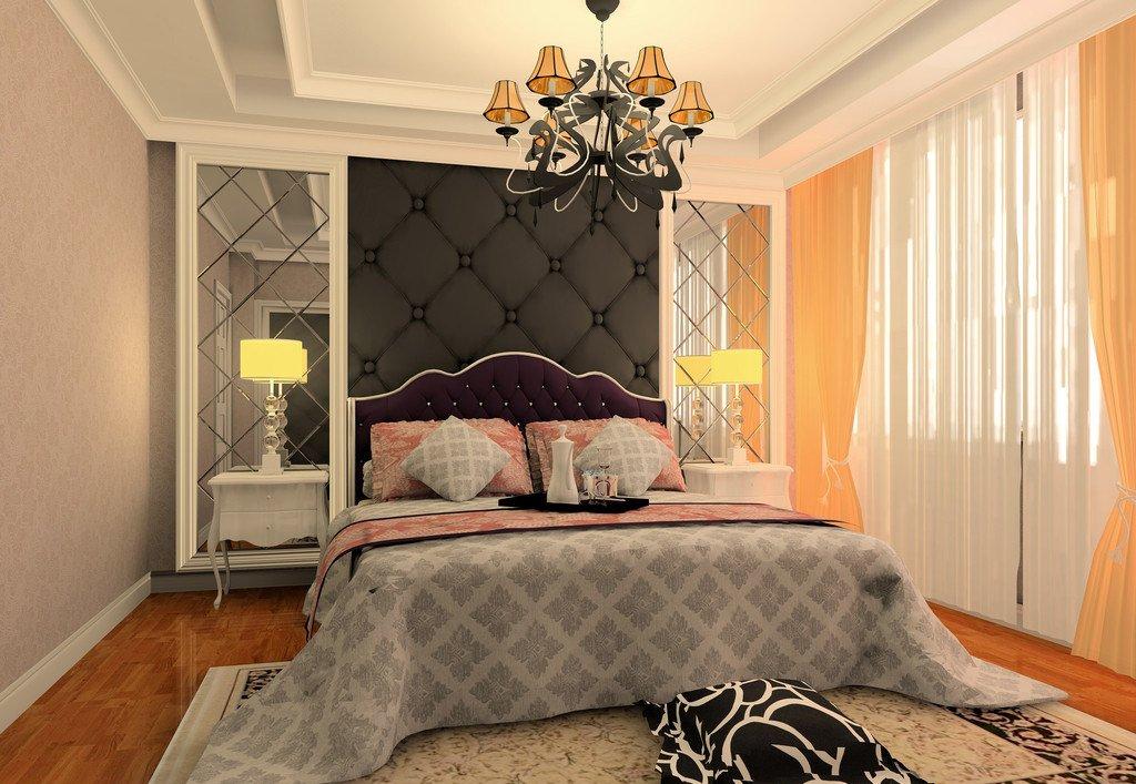 简单欧式卧室床头背景墙设计效果图