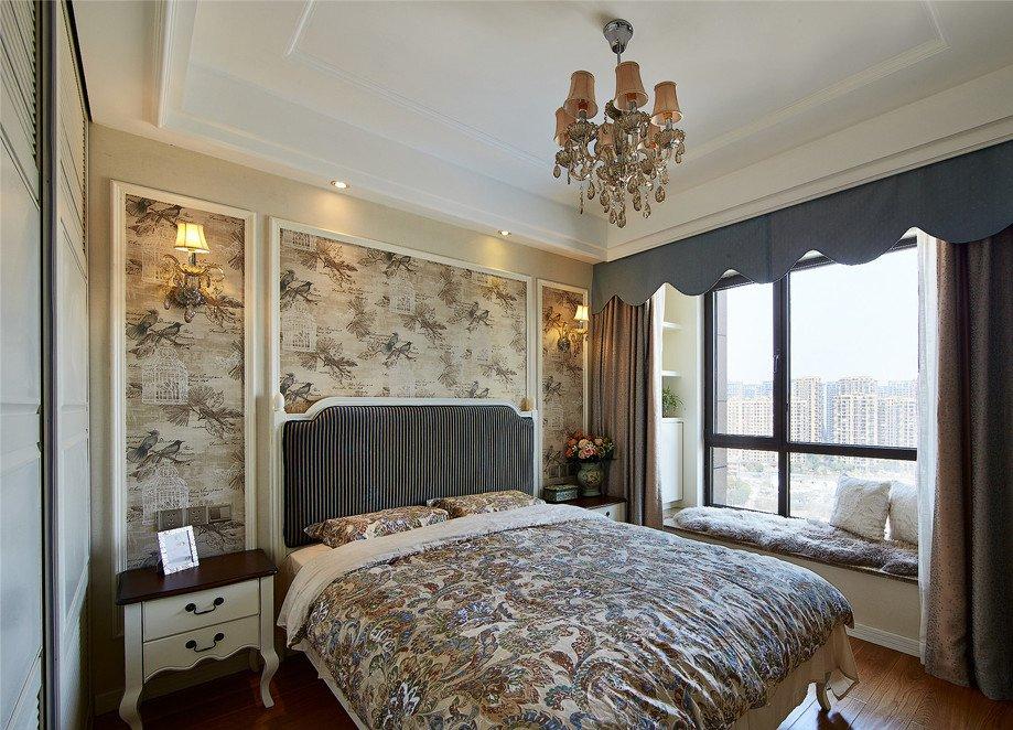 简单欧式卧室床头背景墙墙纸设计效果图