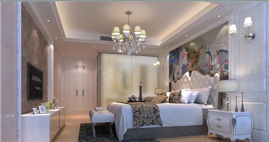 简单欧式卧室床头背景墙设计效果图欣赏