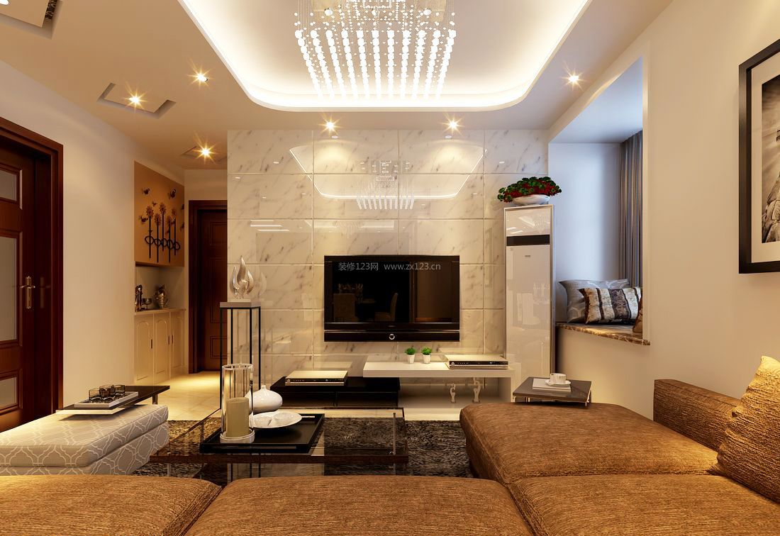 现代简约小客厅大理石电视背景墙装修图片