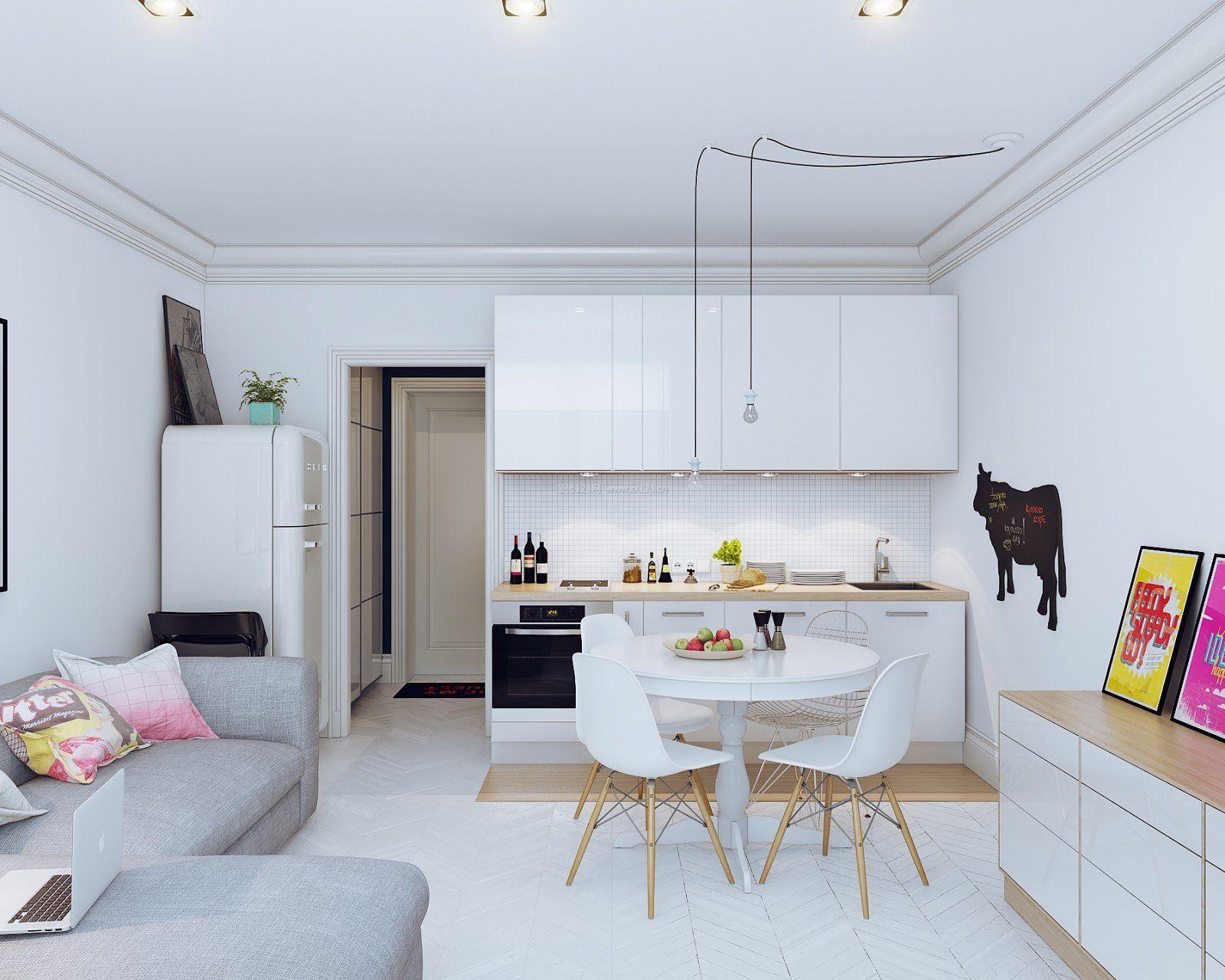 30平米小户型客厅厨房餐厅装修效果图