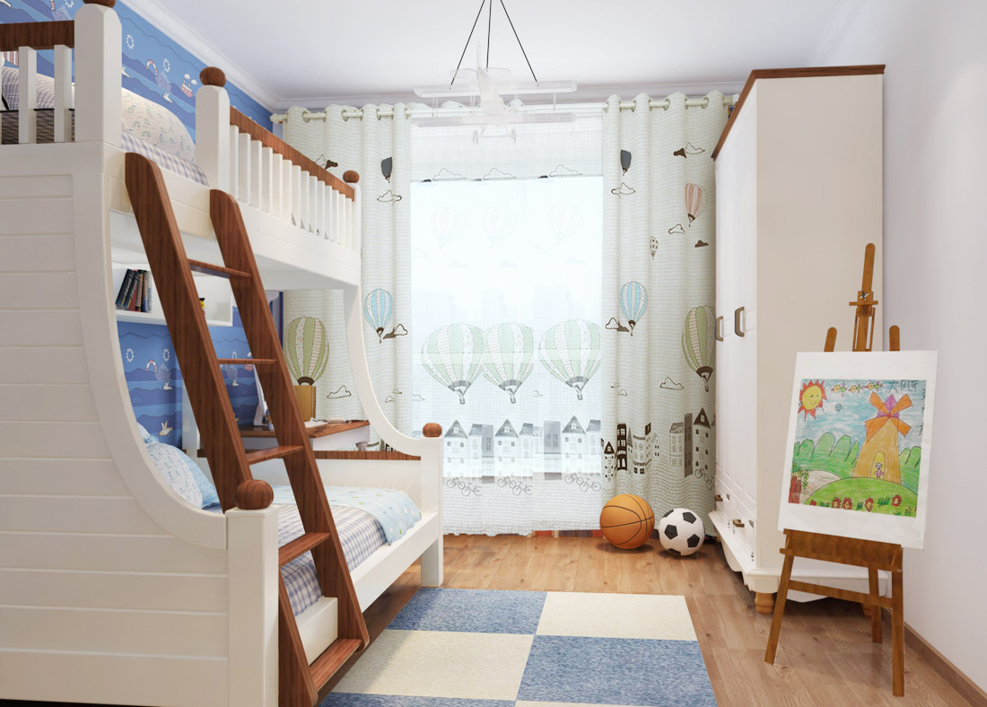 2017简约家装风格儿童房实木衣柜装修效果图片