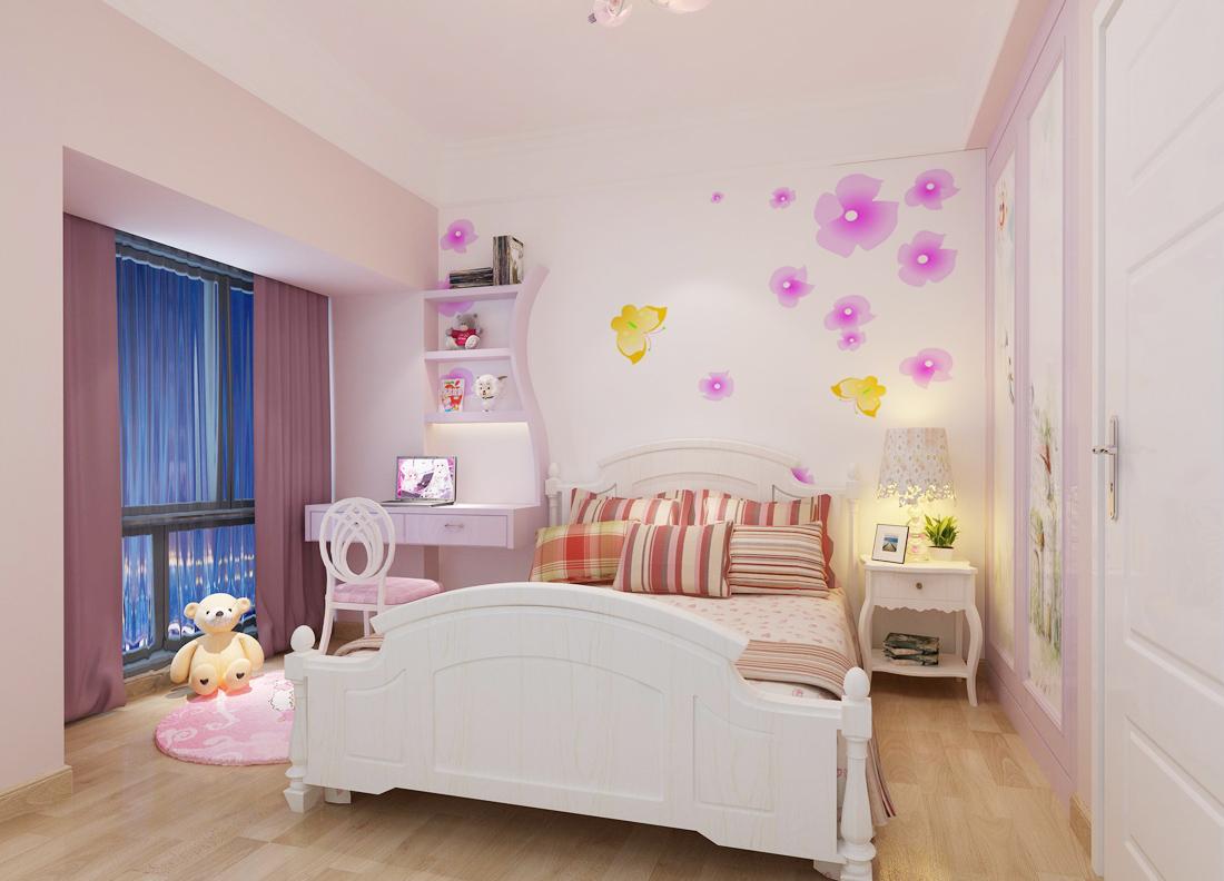 2017女孩儿童房实木床头柜装修效果图