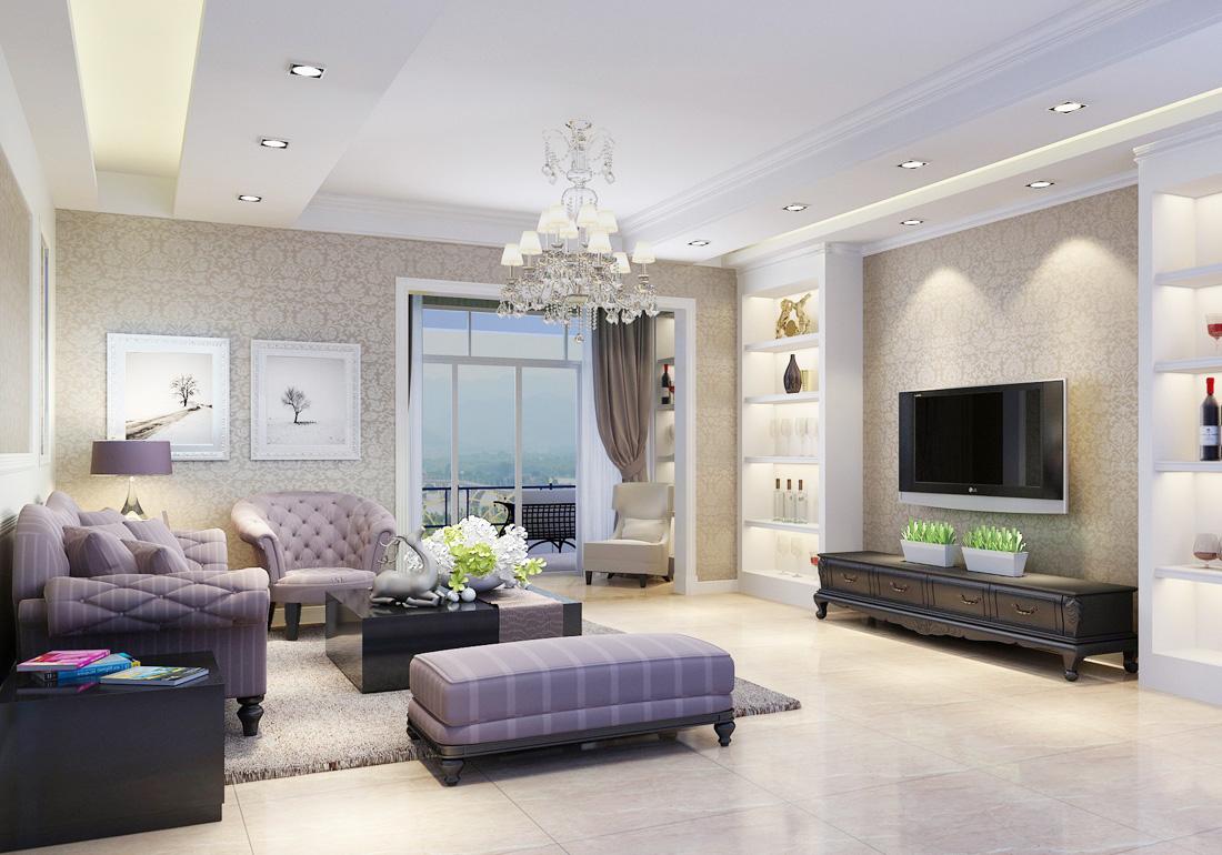 家装效果图 欧式 2017欧式小别墅室内客厅背景墙装修