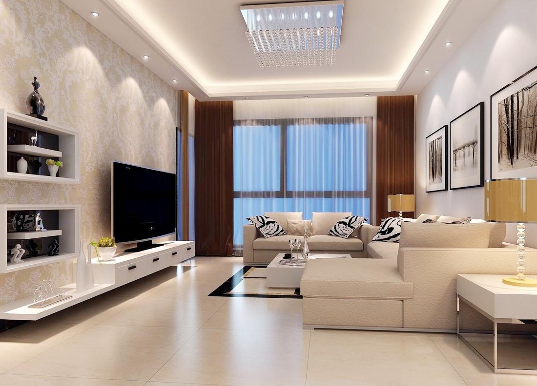 室内现代简约风格小客厅背景墙壁纸装修效果图