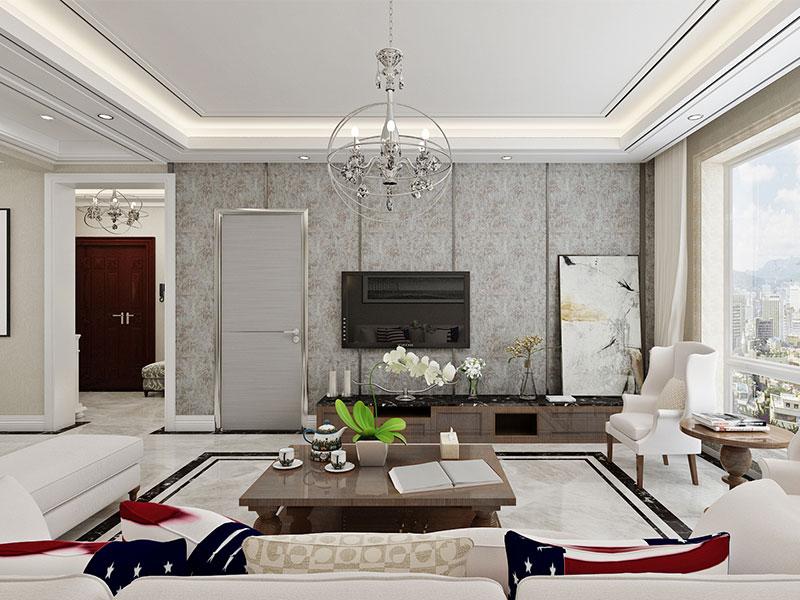 美式简约风格客厅电视背景墙壁纸装修图片