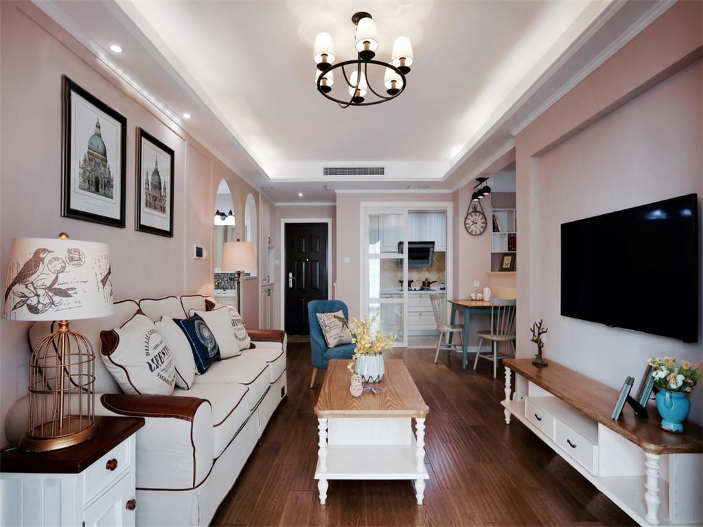 现代美式风格小户型客厅家装设计案例_装修123效果图图片