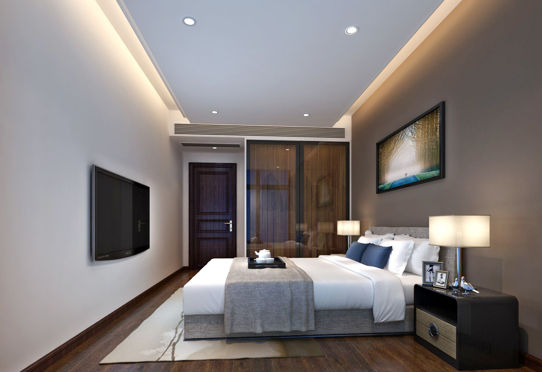 后现代风格别墅卧室门装修效果图片2017图片