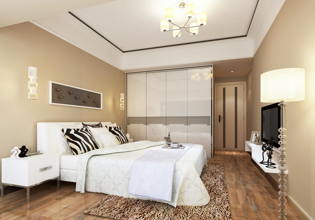2017后现代风格简约卧室门装修效果图案例图片
