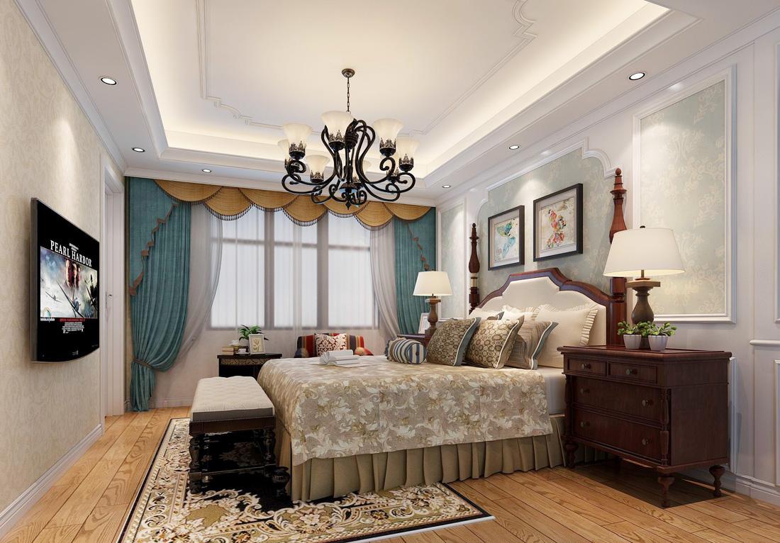 2017美式家居别墅室内卧室窗帘搭配效果图_装修123
