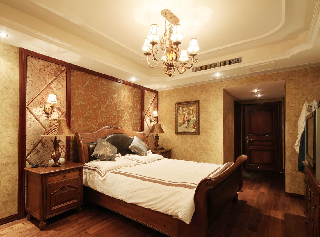 2017最新美式家居卧室原木地板装修效果图片