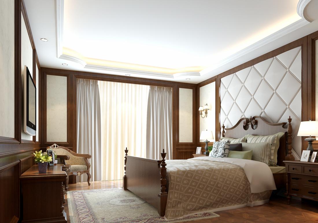 美式家居卧室石膏板吊顶装修效果图片