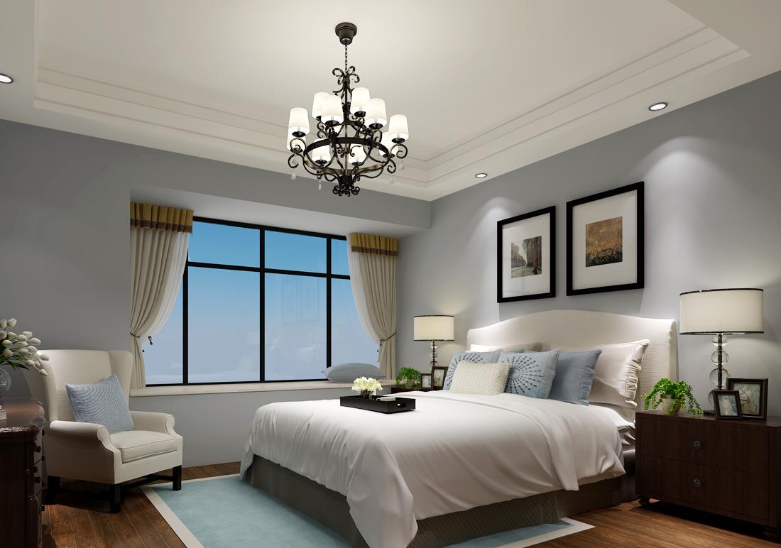 2017简约美式家居卧室窗帘装修效果图片图片