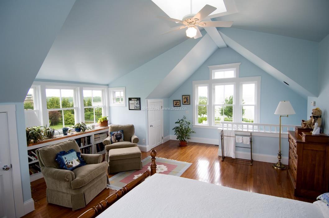 洋房别墅斜顶卧室装修效果图片图片