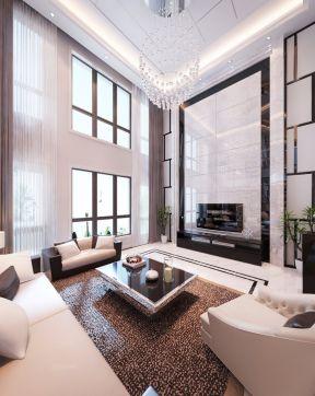 2017现代家装中空客厅电视背景墙装修设计图