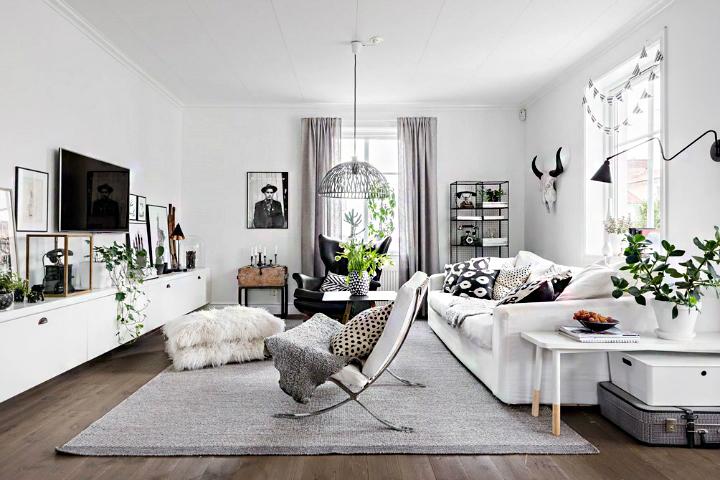 现代简约黑白风格客厅地毯装修效果图片
