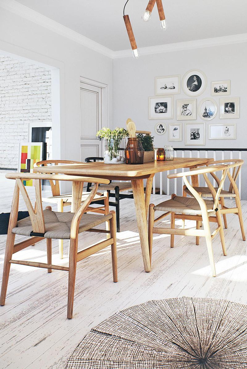 北欧风格室内原木色家具装修设计图片
