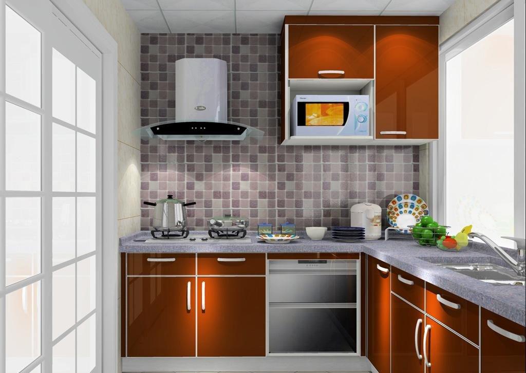 40平米小户型厨房香槟色橱柜装修效果图片