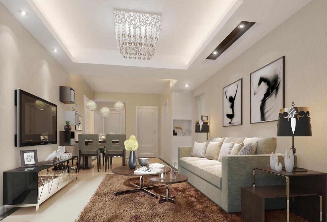 现代70平米小户型家居客厅设计装修效果图片