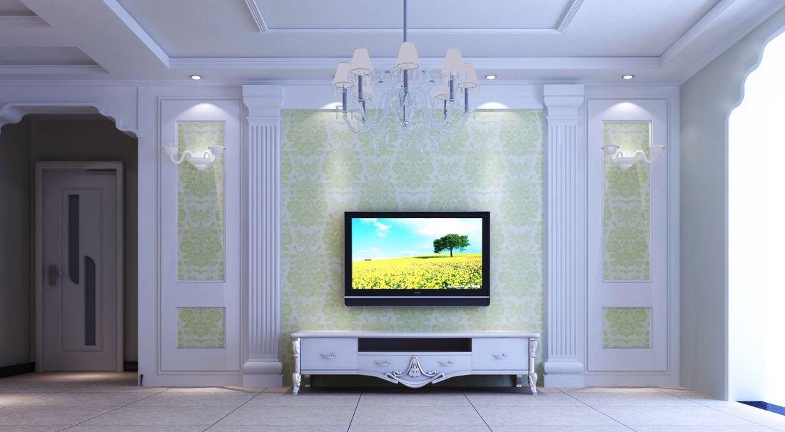 客厅墙纸电视墙效果图_装修123效果图