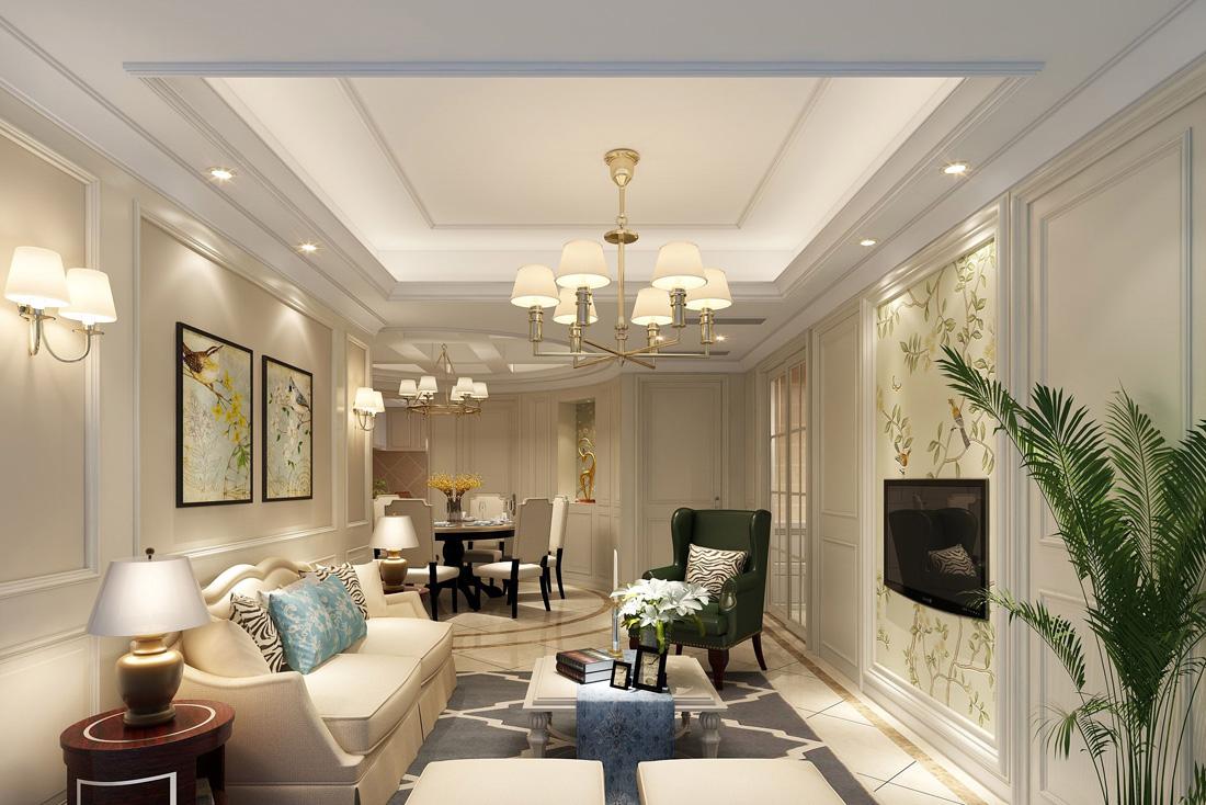 简欧风格客厅电视背景墙装饰装修效果图片案例