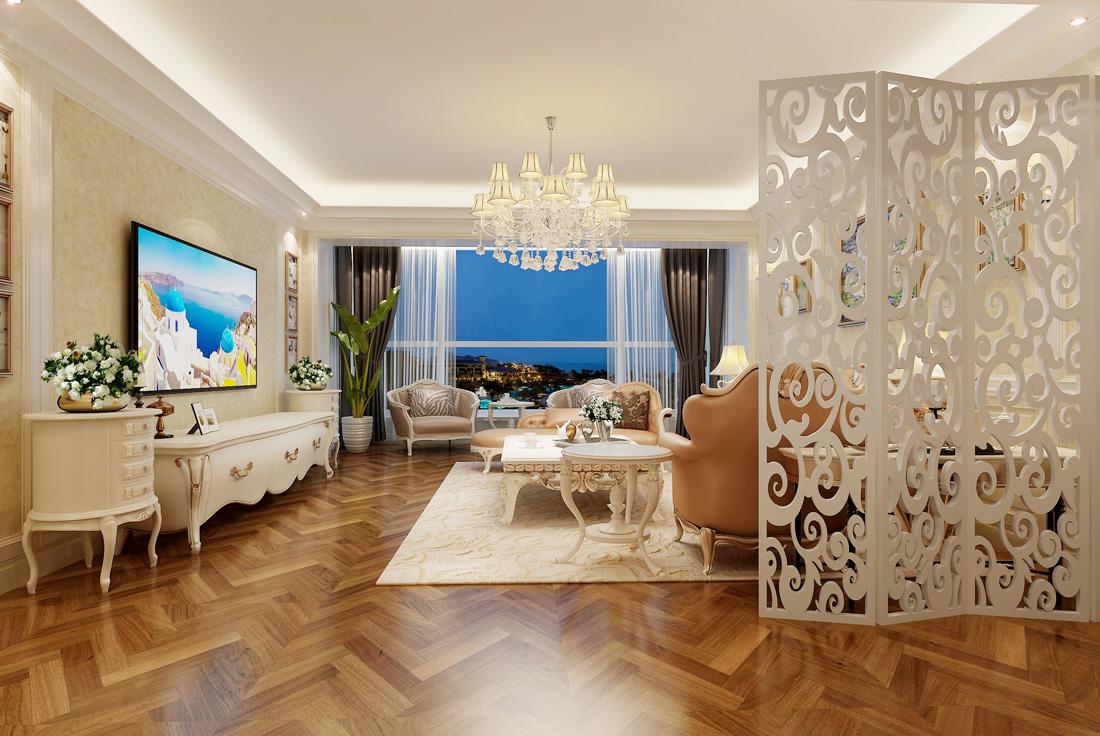 简欧风格别墅客厅电视背景墙装修效果图案例