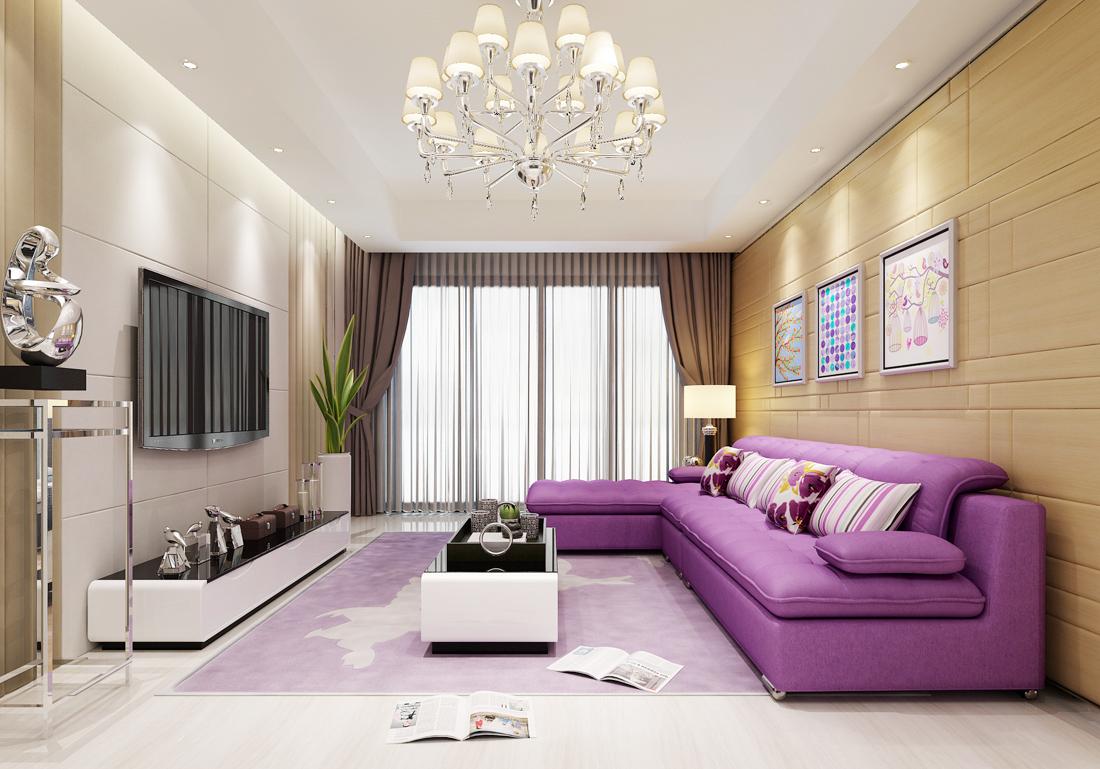 2017现代简约风格客厅紫色沙发装修效果图片