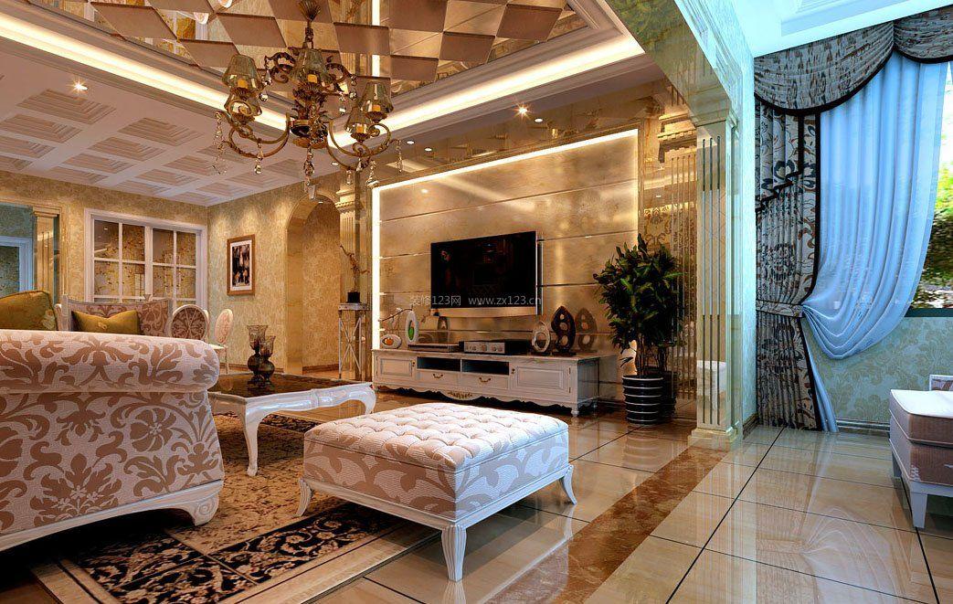 家装效果图 欧式 简约欧式风格客厅电视背景墙装修效