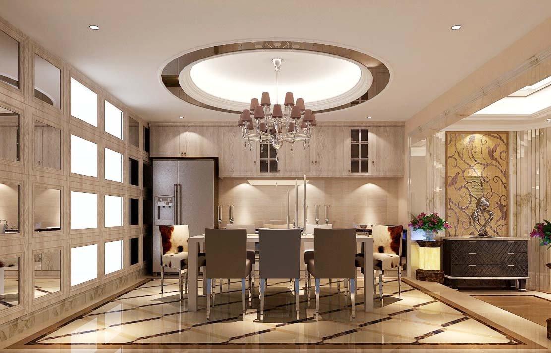 简欧别墅室内餐厅装修设计效果图片2017图片
