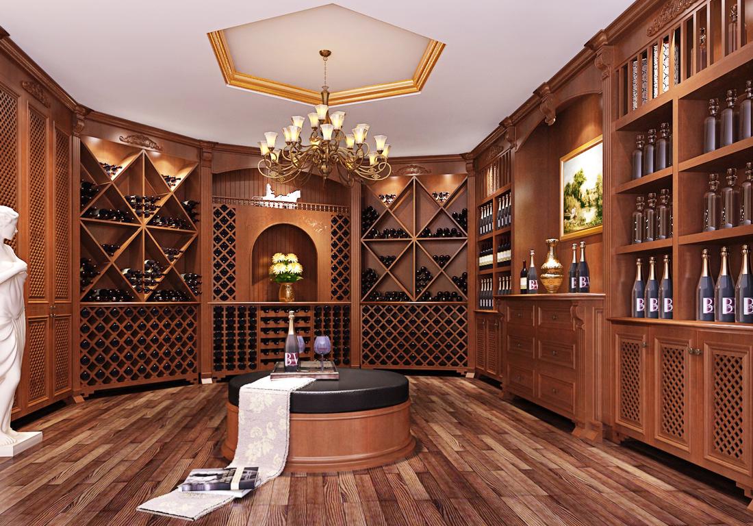 2017美式别墅酒窖酒柜设计效果图片