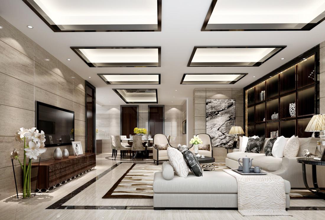 最新现代欧式别墅简约客厅沙发装修效果图图片