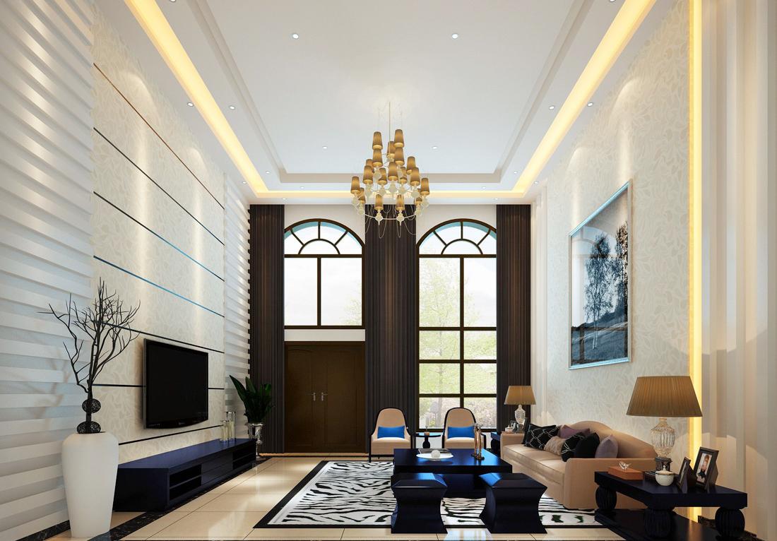 现代欧式别墅简约客厅沙发装修效果图2017