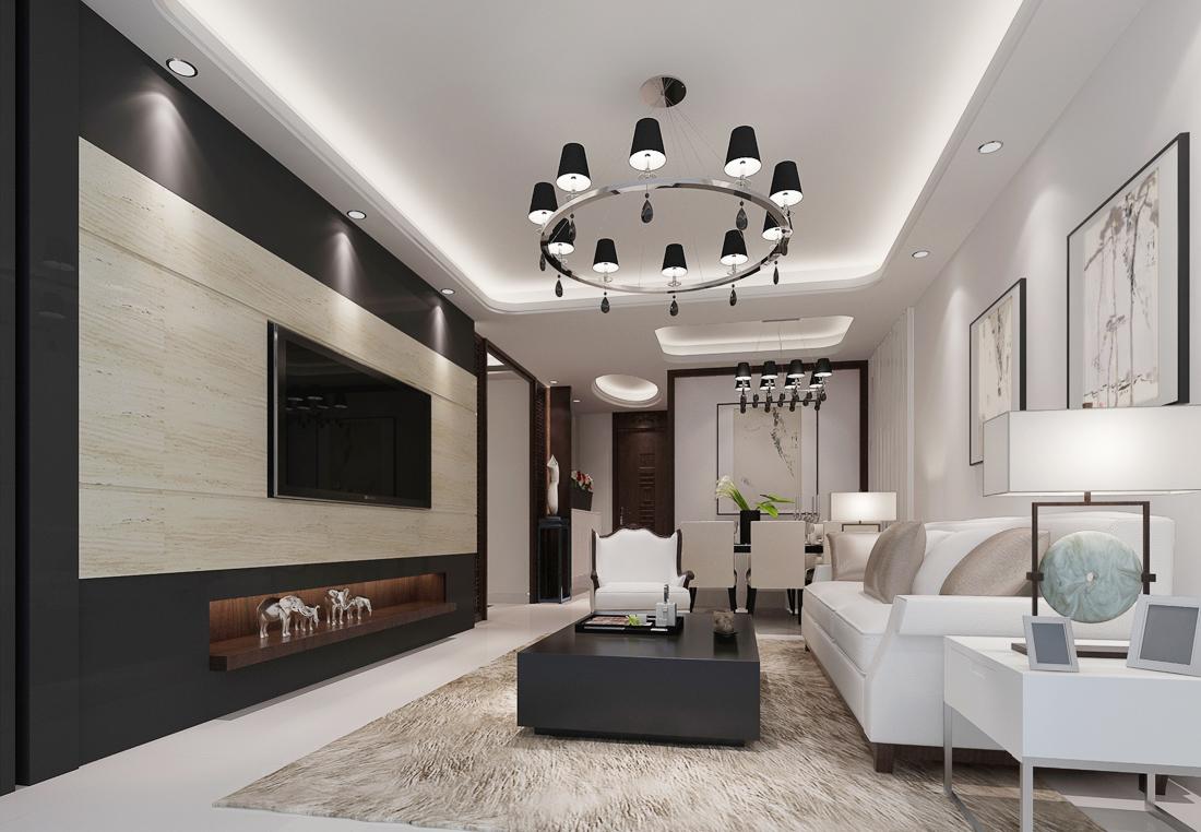 2017现代简约客厅多人沙发装修效果图片