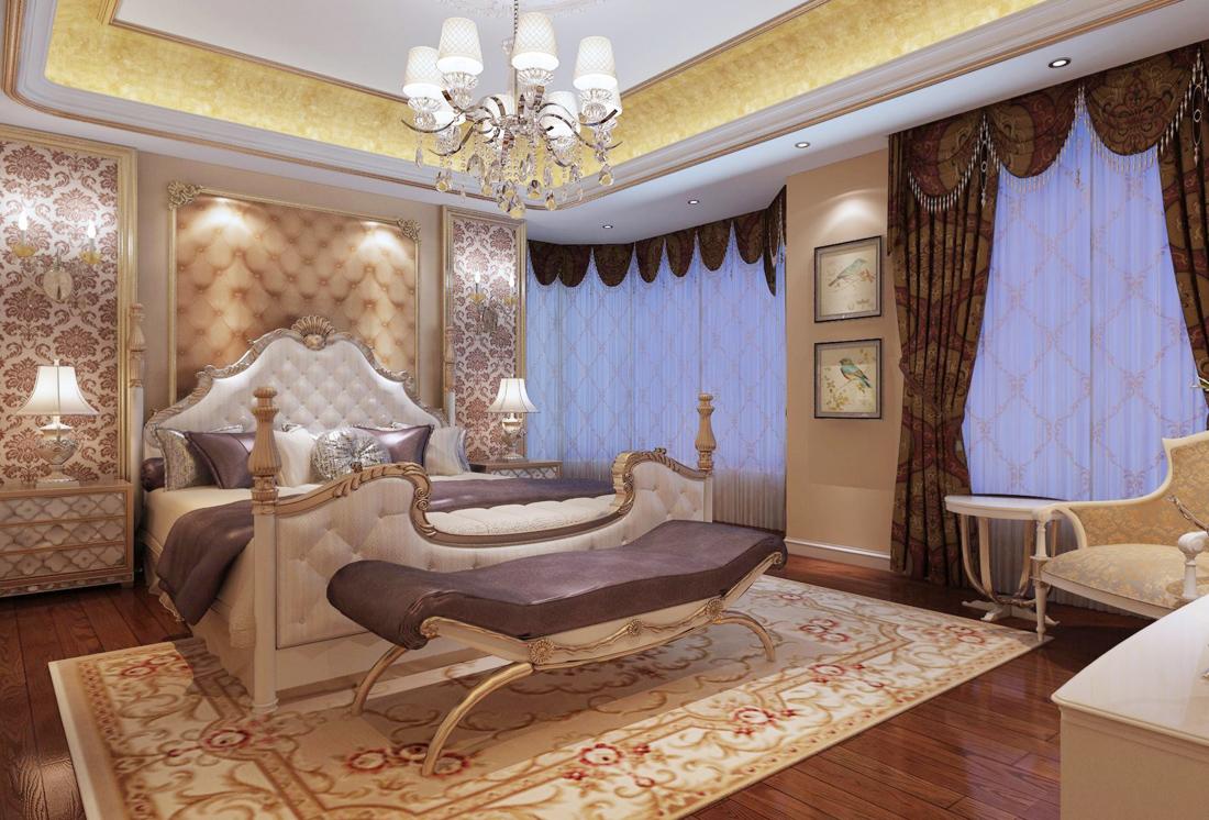 2017最新简欧别墅卧室地毯装修效果图